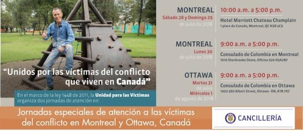 Jornadas especiales de atención a las víctimas del conflicto en Montreal y Ottawa, Canadá