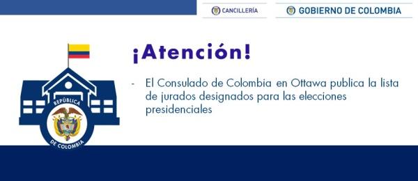 Consulado de Colombia en Ottawa publica la lista de jurados designados para las elecciones presidenciales