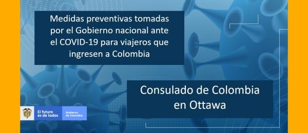 El Consulado en Ottawa informa las medidas preventivas tomadas por el Gobierno nacional ante el COVID-19 para viajeros que ingresen a Colombia