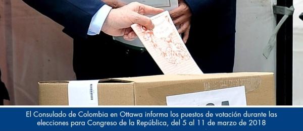 El Consulado de Colombia en Ottawa informa los puestos de votación durante las elecciones para Congreso de la República, del 5 al 11 de marzo de 2018